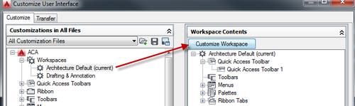 Cui customize workspace