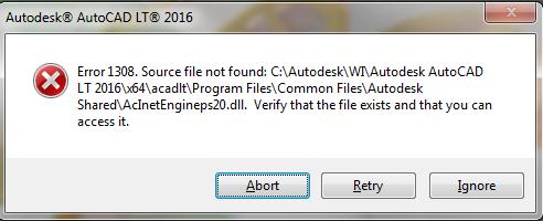 AutoCAD 2016 Error 1308 error with Webroot Anywhere Anti-Virus SoftwareFIG1