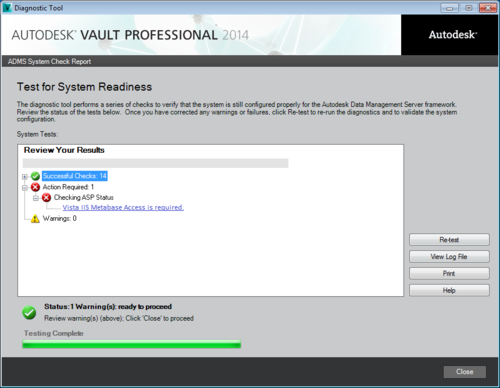 Vault Server upgrade message: 'Vista IIS Metabase Access is