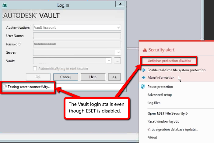 Vault Client cannot connect to server - has a stalled 'Testing