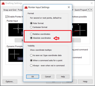 AutoCAD How to Disable Relative Coordinates on the DYN Mode InputFig2