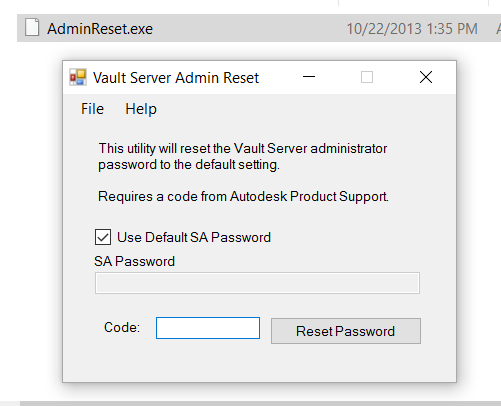Have you lost the Vault Server Admin Password? Ask Autodesk for the