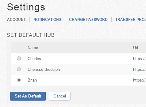 Set default hub settings