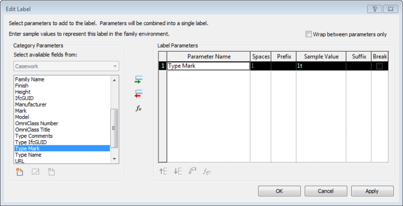 Edit label dialog