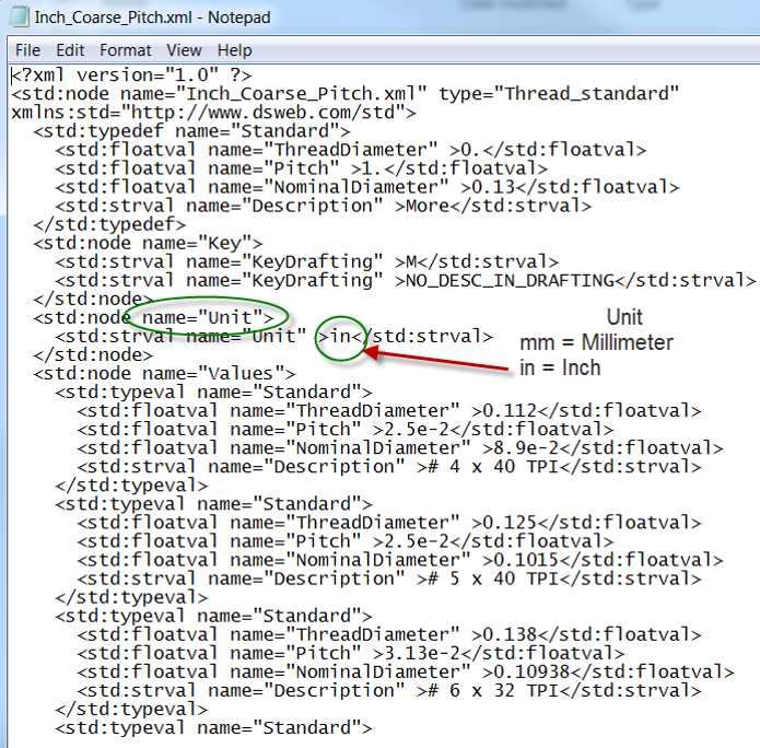 This Is A Sample Xml File Edited With Notepad Setup For Inch Threads Also Search The Internet To Use Edit Files