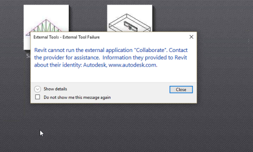 Revit cannot run the external application