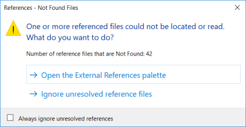 AutoCAD AutoCAD 2018 One or more referenced files could not be located or read when opening files with embedded images