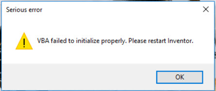 VBA failed to initialize