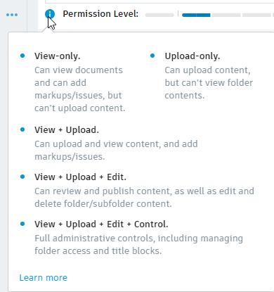 BIM 360 permissions level