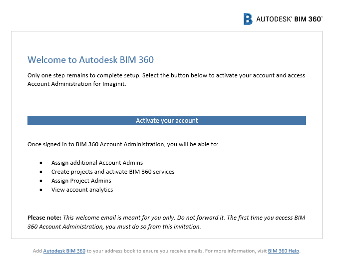 BIM360_welcome email