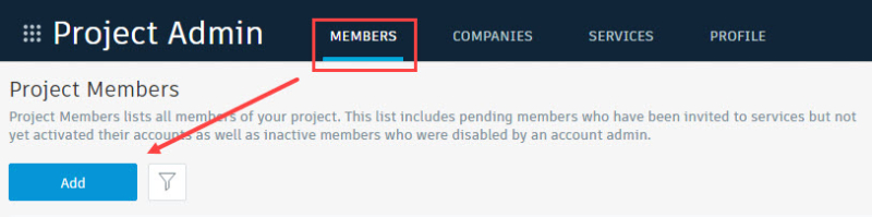 BIM 360 Project Admin add member