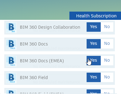 Autodesk health subscription pull down