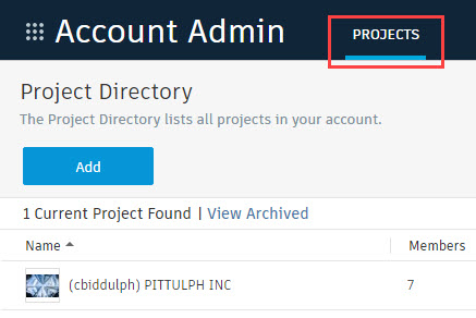 BIM 360 click on project