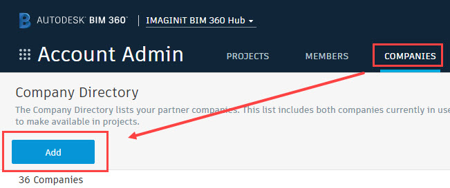 BIM 360 adding companies