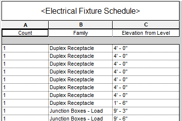 2020 Electrical Fixture Schedule with Elevation from Level