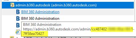 IE hover over bim 360 admin