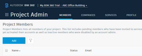 Project Admin - Member tab - Add