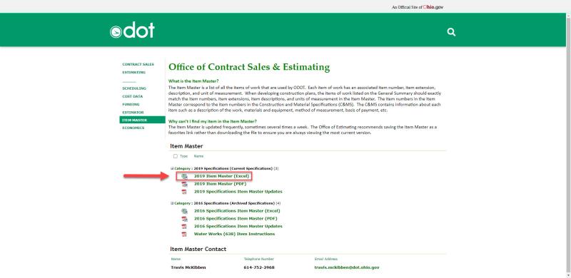 1_ODOT Item Master Web Page